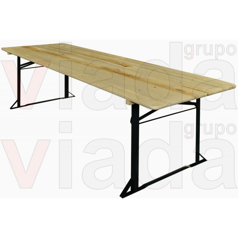 Mesa plegable rectangular de madera for Mesa de playa plegable