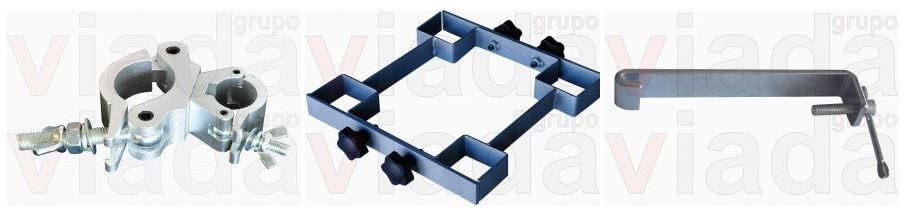 Piezas de bloqueo, cruces, y conectores para el escenario<